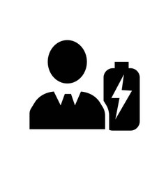 battery in man head icon icon simple element vector image