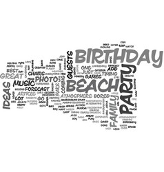 Beach birthday party ideas text word cloud concept vector