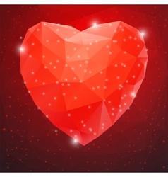 Big red shiny diamond heart vector