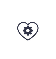 Biotechnology icon with heart and cogwheel vector