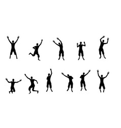 black and white silhouettes of jumping happy and vector image