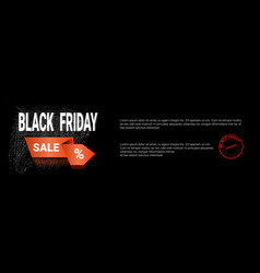 black friday sale template horizontal banner with vector image