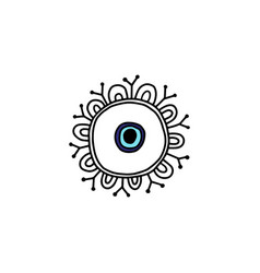 Blue fatima eye drawing in circle with ornament vector