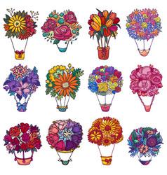 bouquet aerostat beautiful floral air vector image