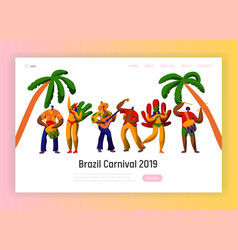 brazil carnival party character dance landing page vector image