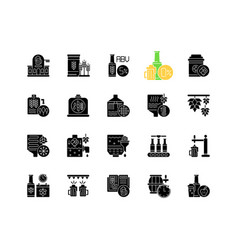 Brewing black glyph icons set on white space vector