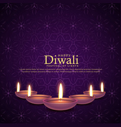 burning diya for diwali festival celebration vector image