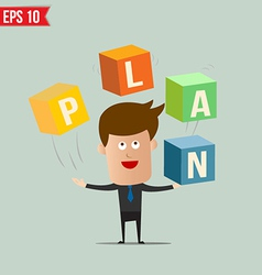 Business man throw business box stacking vector