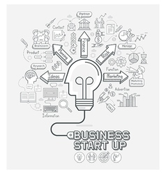 Business start up concept doodles icons set vector