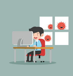 Businessman working at her desk at home vector