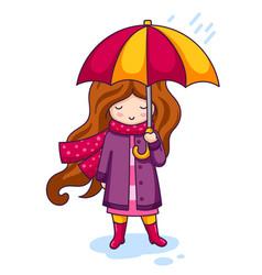 cartoon character with umbrella vector image