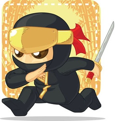 Cartoon of Ninja Holding Japanese Sword vector
