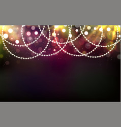 christmas shining background with garlands lights vector image