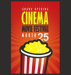 Cinema movie festival poster with popcorn bucket vector