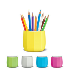 colored pencils and pencil holder vector image