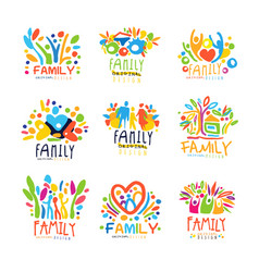 Colorful family labels original design set of vector