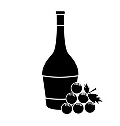 contour wine bottle with grape fruit vector image vector image