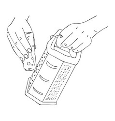 Cooking hand with cheese and grater vector