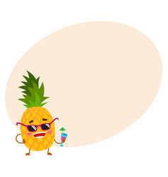 Cute and funny pineapple character in sunglasses vector