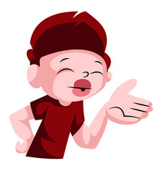 Cute boy blowing kisses on white background vector