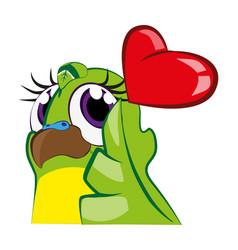 Cute budgie bird balancing big heart - love emote vector