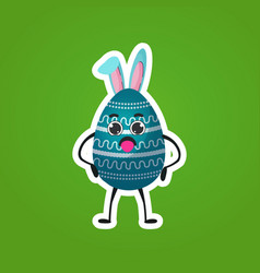 cute decorated egg character with rabbit ears vector image