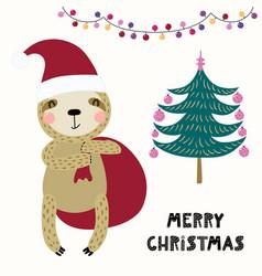 Cute sloth christmas card vector