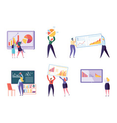 Different character business analyst set people vector