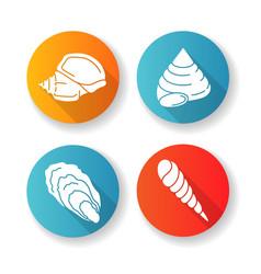 Different seashells flat design long shadow glyph vector