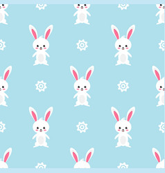 Easter rabbit seamless pattern on blue background vector