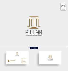 Elegant pillar attorney logo line design template vector