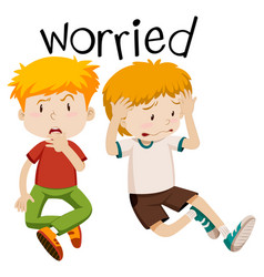 English vocabulary of worried vector