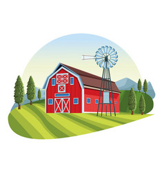Farm with barn scenery vector