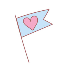 Flag love heart romantic feeling cute icon vector