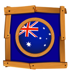 flag of australia in wooden frame vector image