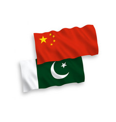Flags pakistan and china on a white background vector