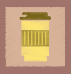 Flat shading style icon coffee to go vector