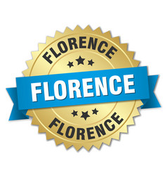 Florence round golden badge with blue ribbon vector
