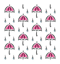 Fun pattern with pink umbrellas and rain on white vector