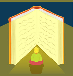 girl reading book for education or story concept vector image