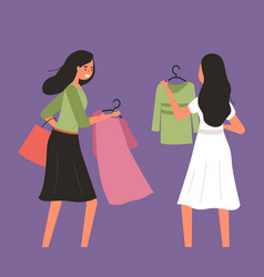 Girl with a hangers with dress in her hands vector