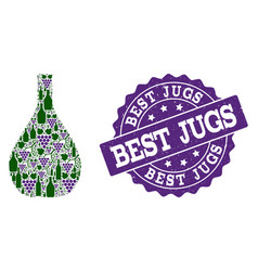 glass jug collage of wine bottles and grape and vector image