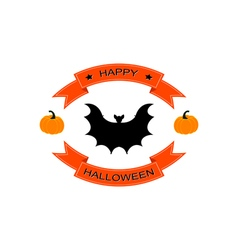 Halloween logo sign with bat vector image