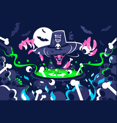Halloween witch preparing magic potion in cauldron vector