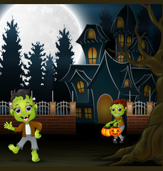 happy halloween with zombie and frankenstein vector image