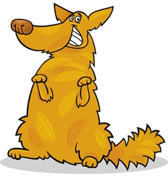 happy yellow shaggy standing dog vector image