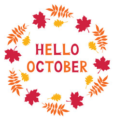 hello october card vector image