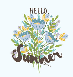 hello summer hand drawn post card template vector image