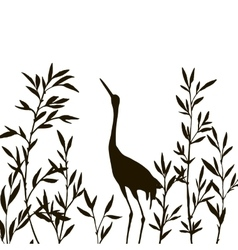 Heron in thicket of bamboo branches with leaves vector