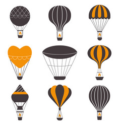 Hot air balloons icons vector